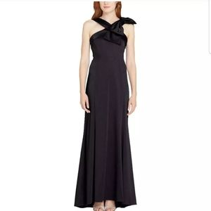Tahari Black Formal Evening Gown with Small Train